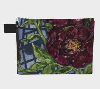 Burgundy Peony Zipper CarryAll preview