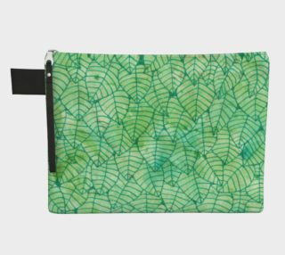 Green foliage watercolor Zipper Carry All Pouch preview