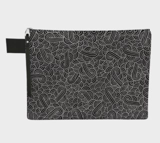 Faux silver and black swirls doodles Zipper Carry All Pouch preview