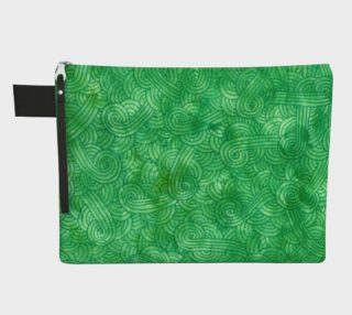 Bright green swirls doodles Zipper Carry All pouch preview