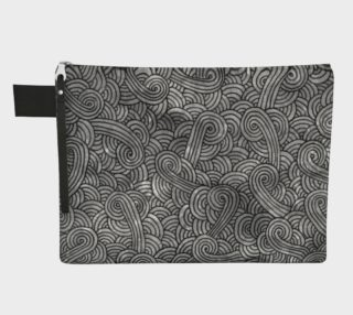 Grey and black swirls doodles Zipper Carry All Pouch preview