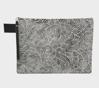 Grey and white swirls doodles Zipper Carry All Pouch preview