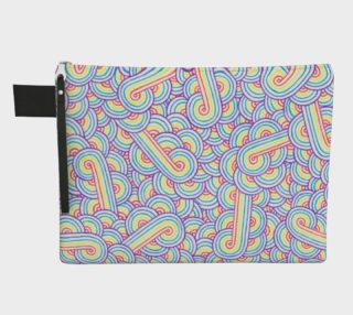 Rainbow and white swirls doodles Zipper Carry All Pouch preview