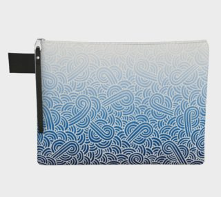 Ombré blue and white swirls doodles Zipper Carry All Pouch preview
