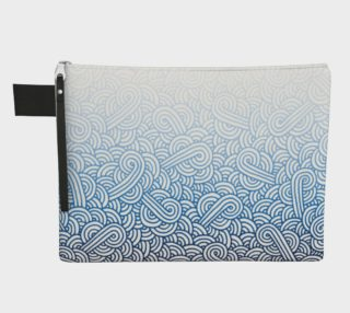 Gradient blue and white swirls doodles Zipper Carry All Pouch preview