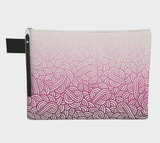 Gradient pink and white swirls doodles Zipper Carry All Pouch preview