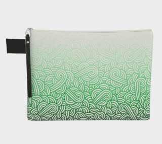 Gradient green and white swirls doodles Zipper Carry All Pouch preview