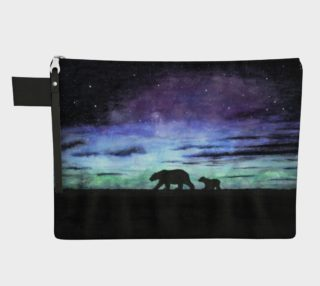 Aurora borealis and polar bears (black version) Zipper Carry All Pouch preview