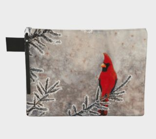 The red cardinal in winter Zipper Carry All Pouch preview