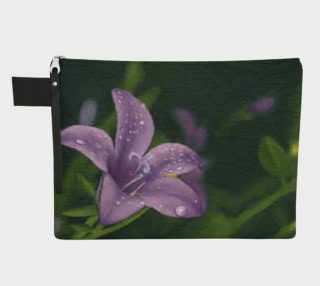 Purple lily flower with dew Zipper Carry All Pouch preview