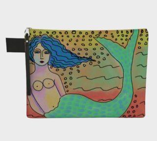 Aperçu de Mermaid with Blue Hair Abstract Art Clutch Bag
