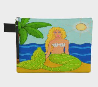 Aperçu de Mermaid and Palm Tree Abstract Art Clutch Bag