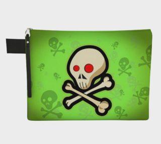 Cartoon Skull On Green Zipper Carry All bag preview