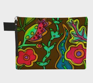 Aperçu de Funky Flowerz Abstract Art Clutch Purse