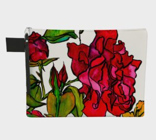 Watercolour Roses Zippered Carry-All preview