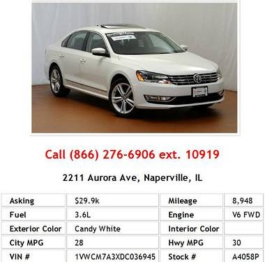 Photo 2013 Volkswagen Passat SEL Candy White Sedan V6