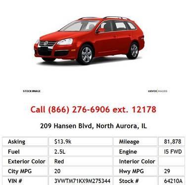 Photo 2009 Volkswagen Jetta SE Red Wagon I5