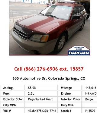 Photo 2002 Subaru Legacy Outback Awp Regatta Red Pearl Wagon H4