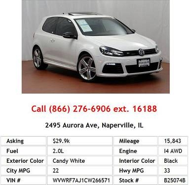 Photo 2012 Volkswagen Golf R Candy White Hatchback I4