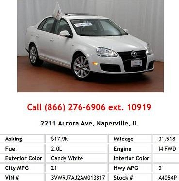Photo 2010 Volkswagen Jetta Wolfsburg Candy White Sedan I4