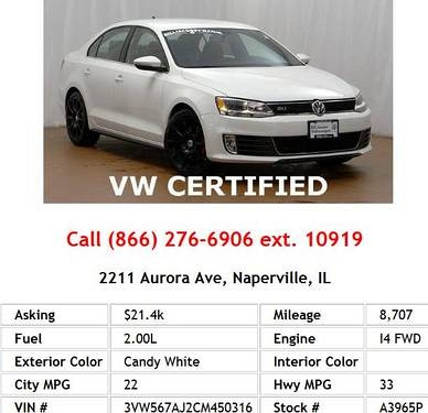 Photo 2012 Volkswagen Jetta GLI Candy White Sedan I4