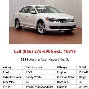 Photo 2013 Volkswagen Passat SE PZEV Candy White Sedan I5