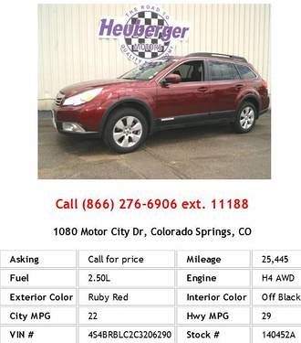 Photo 2012 Subaru Outback 2.5i Limited Ruby Red Wagon H4