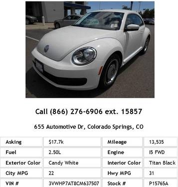 Photo 2012 Volkswagen Beetle 2.5 PZEV Candy White Hatchback I5