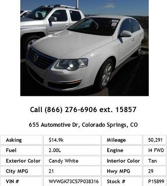 Photo 2007 Volkswagen Passat 2.0T Candy White Sedan I4