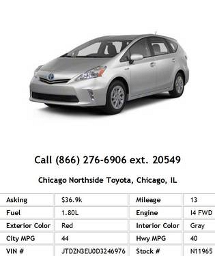 Photo 2013 Toyota Prius v Five Red Wagon I4