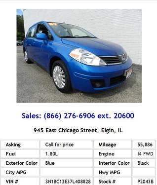 Photo 2007 Nissan Versa 1.8 S Blue Hatchback I4