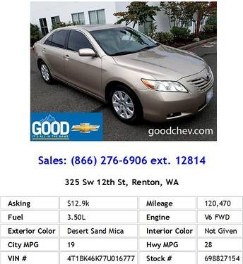Photo 2007 Toyota Camry XLE V6 Desert Sand Mica Sedan V6
