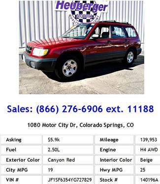 Photo 2000 Subaru Forester L Canyon Red Wagon H4