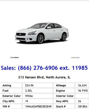 Photo 2011 Nissan Maxima 3.5 S White Sedan V6