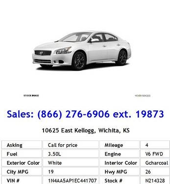 Photo 2014 Nissan Maxima 3.5 S White Sedan V6