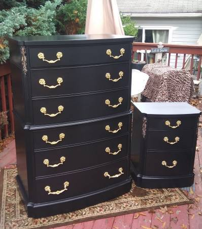 Photo Beautifully Refinished Black Antique Tall Dresser and Night Stand - $400 (Middletown, NJ)