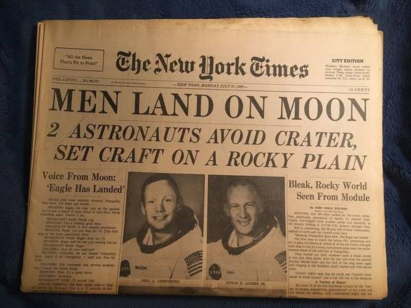 Photo New York Times newspaper, July 21, 1969, MEN LAND ON MOON - $25 (Bethlehem)