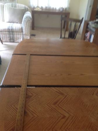 Photo Oak Dining Table with Leaf, Used - $40 (Doylestown, PA 18901)