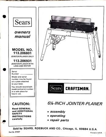 Photo Sears Craftsman 6-18quot JointerPlaner - $295 (Pennsville, PA)