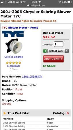 Photo front blower 2001 to 06 Chrysler - $20 (Boyertown pa)