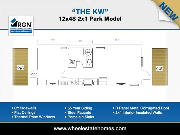 Photo 12x44 Dual Porch Entry Park Model Mobile Home (Breckenridge, TX)