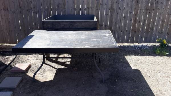 Photo Patio table with wood top. Free come get it. (Pa)