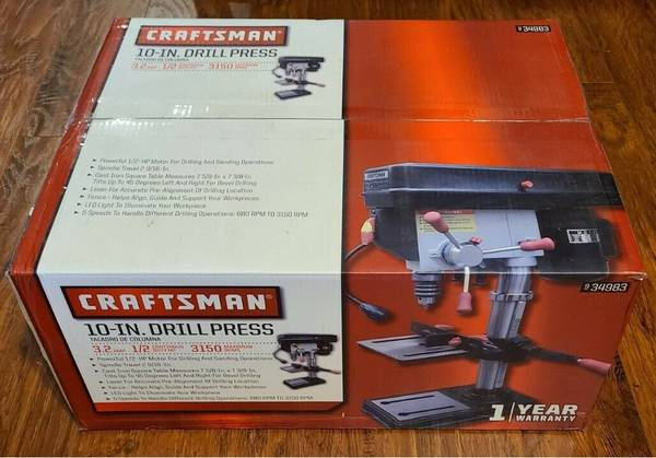 Photo Craftsman 10quot Bench Drill Press with LED Worklight  Laser Guide - $160 (Akron)