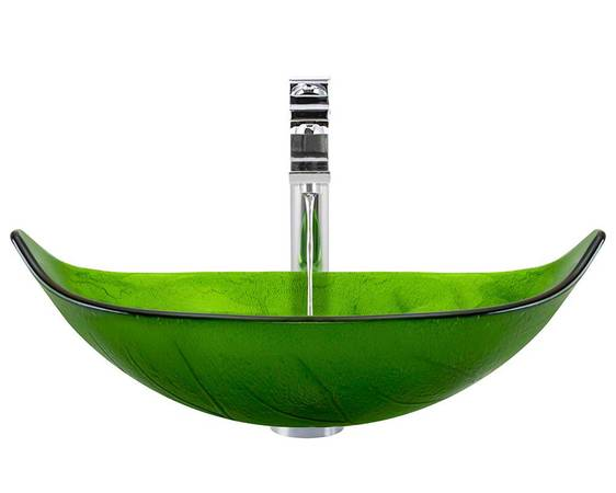 Photo Green Leaf Glass Bathroom Vessel Sink With Faucet  Pop Up Drain - $175 (Brecksville)
