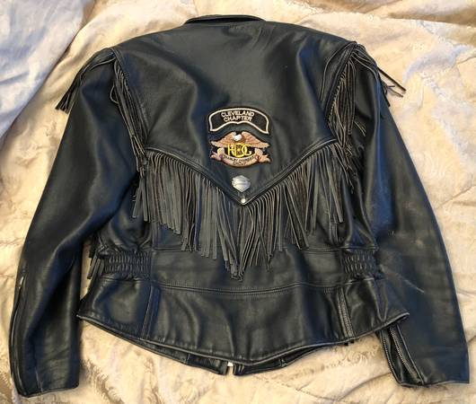 Photo Womens Harley-Davidson Genuine Black Leather Jacket LG with Tassels - $75 (Richmond Hts)