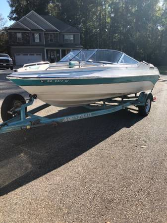 Photo 1997 Aquatron 180 bow rider boat  trailer - $4,900 (Monroe)