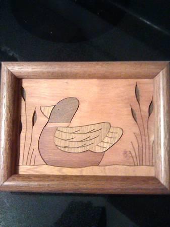 Photo Handmade Inlaid Wood Cut of Duck - $5 (Arden)
