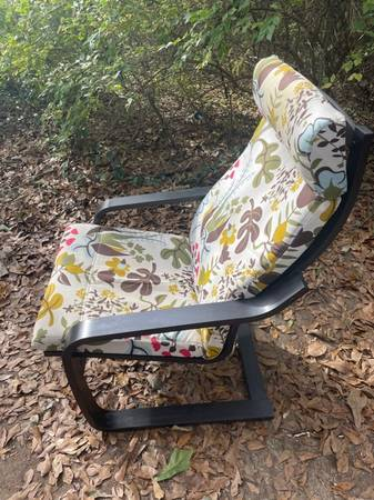 Photo Ikea Poang Chair, Floral Seat Cushion - $75
