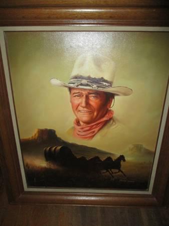 Photo John Wayne Original Oil Painting On Canvas by Peter Shinn 27x31 Framed - $250 (Pickens SC)