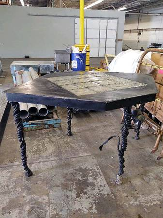 Photo Art Deco Wrought Iron Table with Glass Top - $500 (West Cols.)